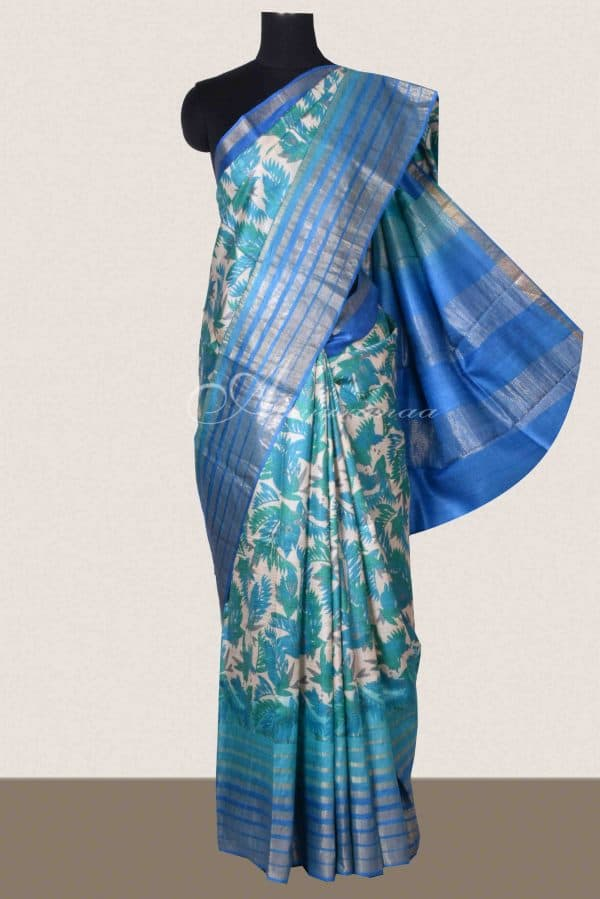 Blue and beige printed tussar saree-0