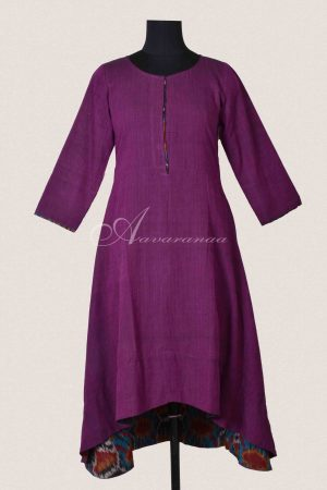 Purple handloom cotton asymmetric tunic-0