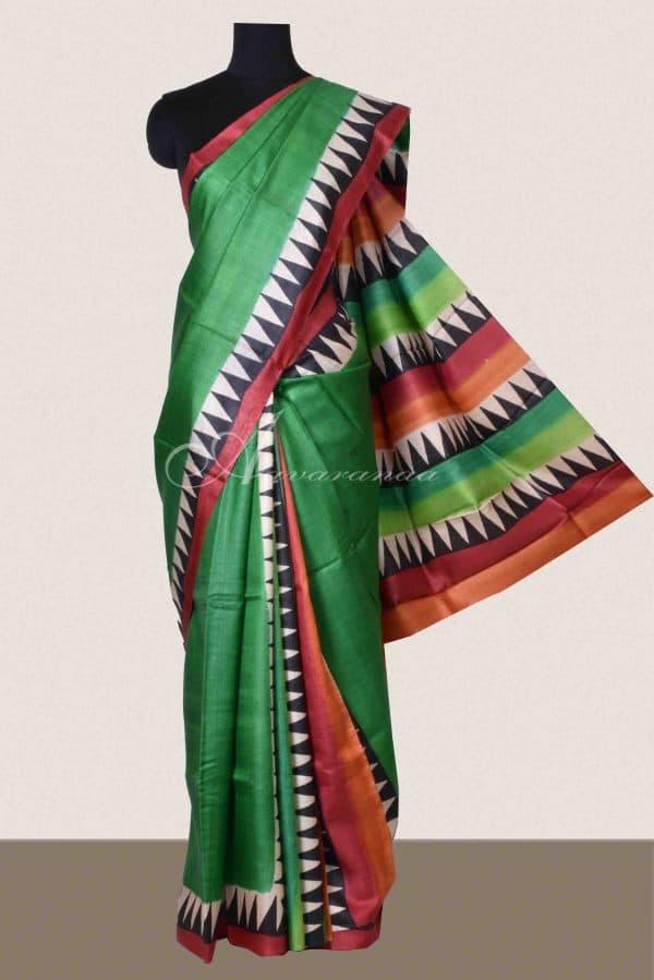 Green partly pallu style tussar saree-0