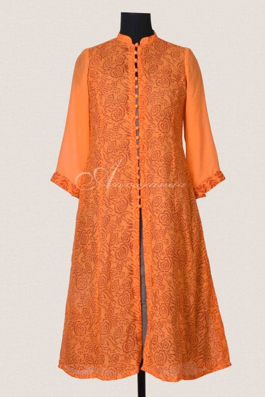 Orange chiffon printed layered kurta-0