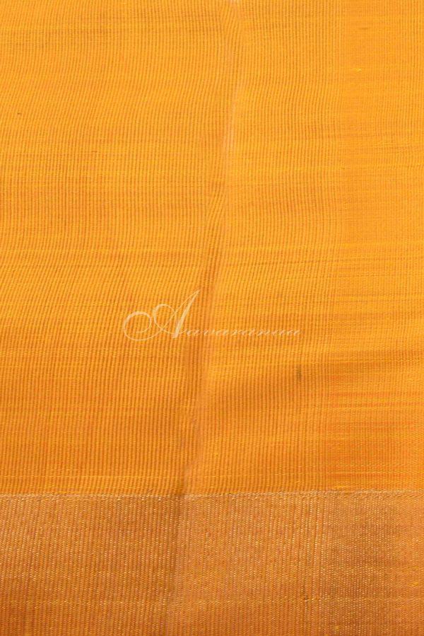 Mustard checks kancheepuram silk saree-15383
