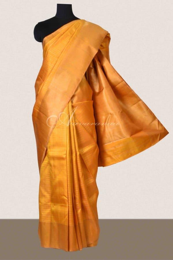 Mustard checks kancheepuram silk saree-0