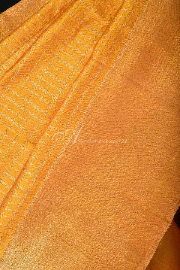 Mustard checks kancheepuram silk saree-15385