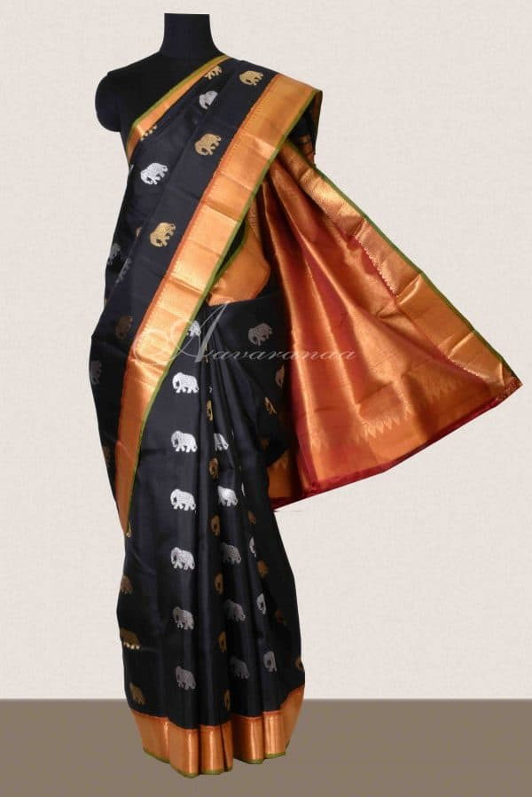 Black kancheepuram with elephant motifs silk saree-0