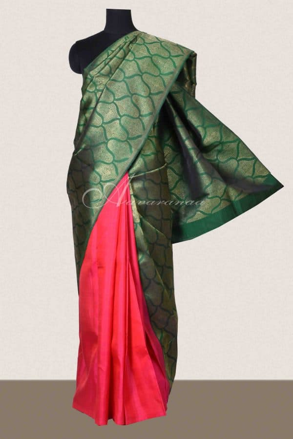 Green and pink 1/2 and 1/2 kanchipuram silk saree-0