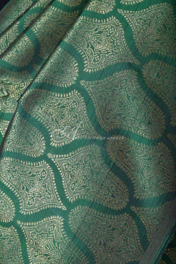 Green and pink 1/2 and 1/2 kanchipuram silk saree-15416