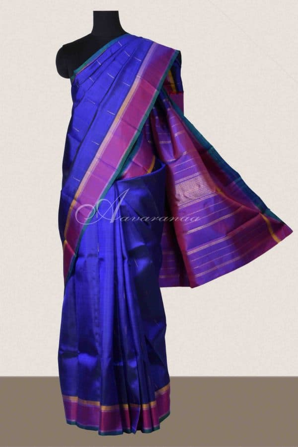 Ms blue and purple kanchipuram silk saree-0