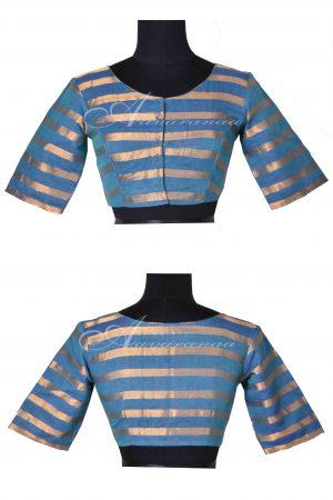 Blue zari stripes cotton blouse-0