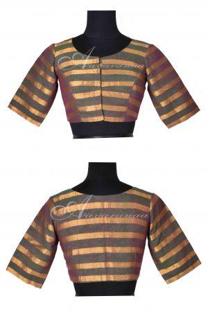Green zari stripes cotton blouse-0