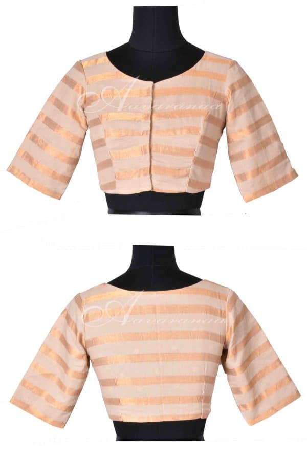 Cream zari stripes cotton blouse-0