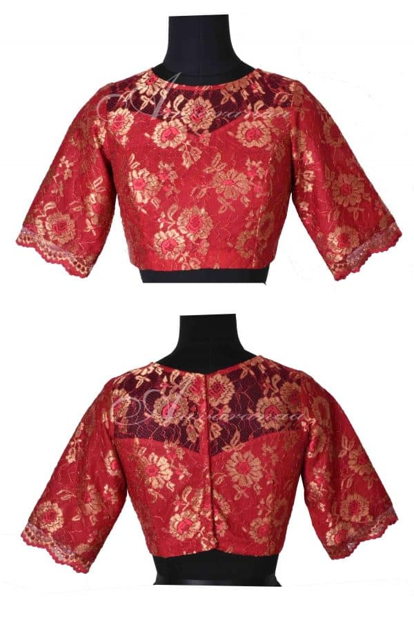 Red french chantilly lace blouse-0