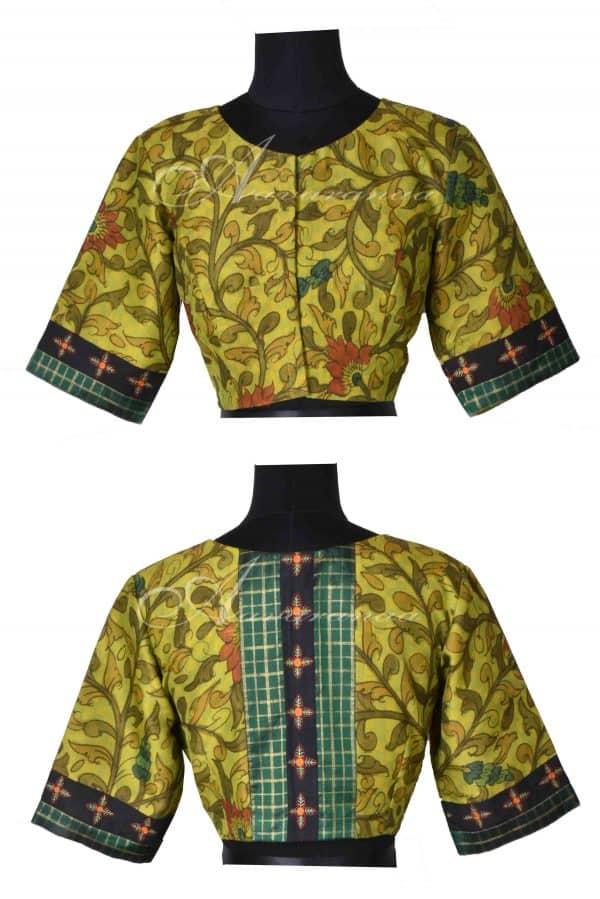 Green kalamkari silk blouse-0