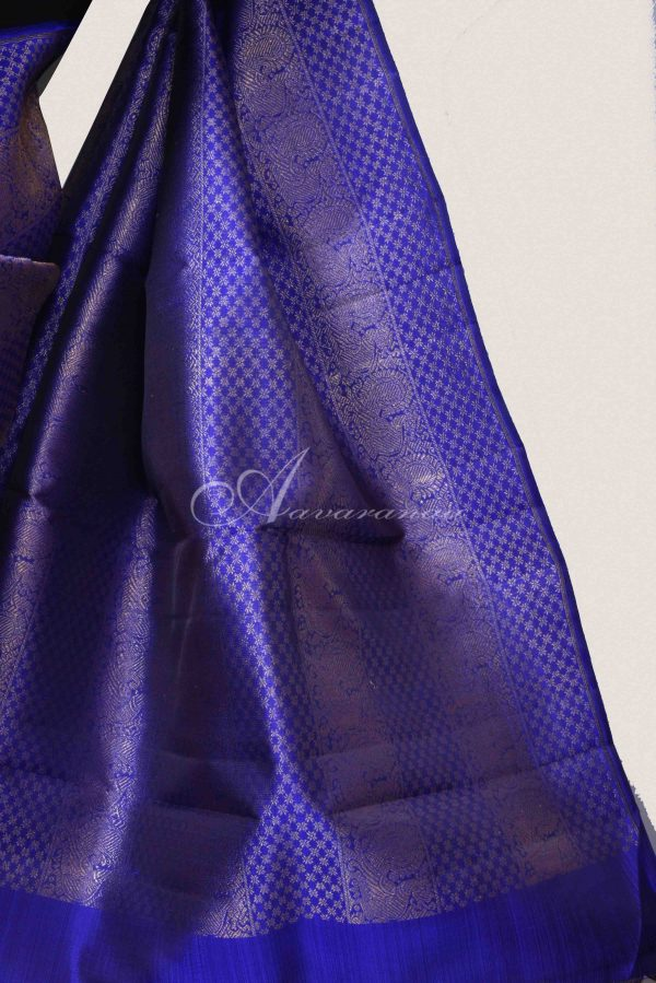 Royal blue pink half half kanchi silk saree-15497