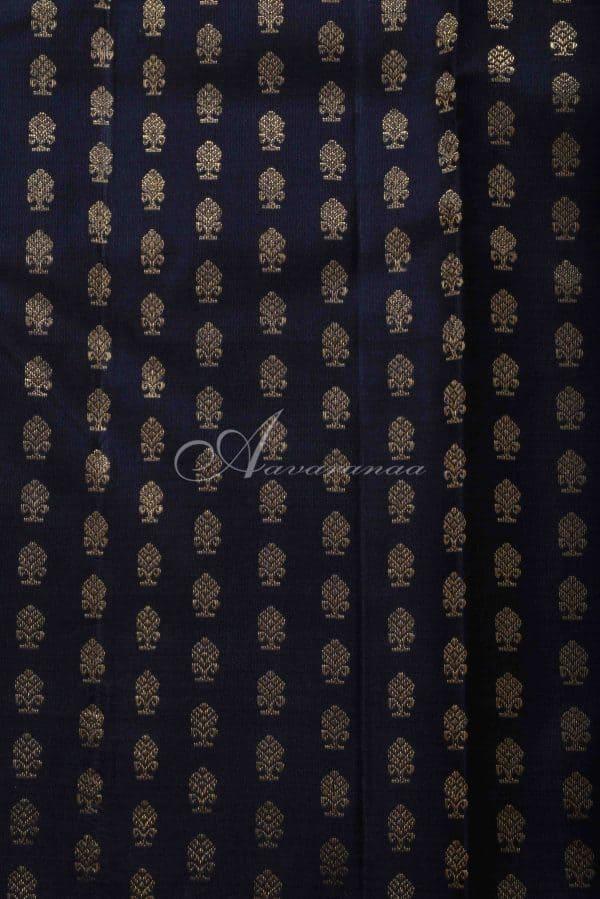 Black kanchi silk saree with green striped border-15538