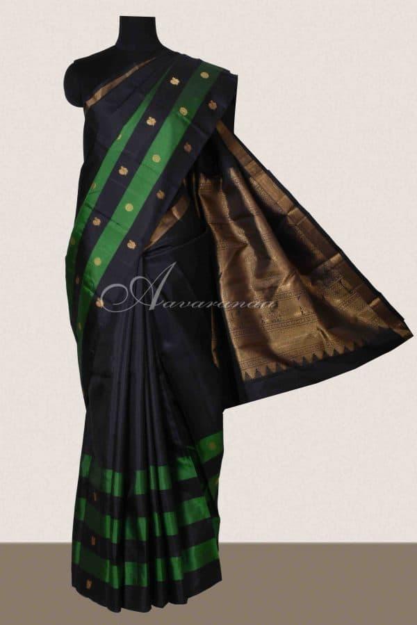 Black kanchi silk saree with green striped border-0