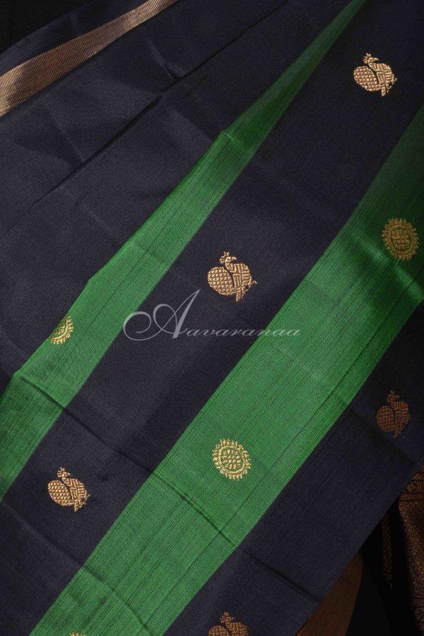 Black kanchi silk saree with green striped border-15537