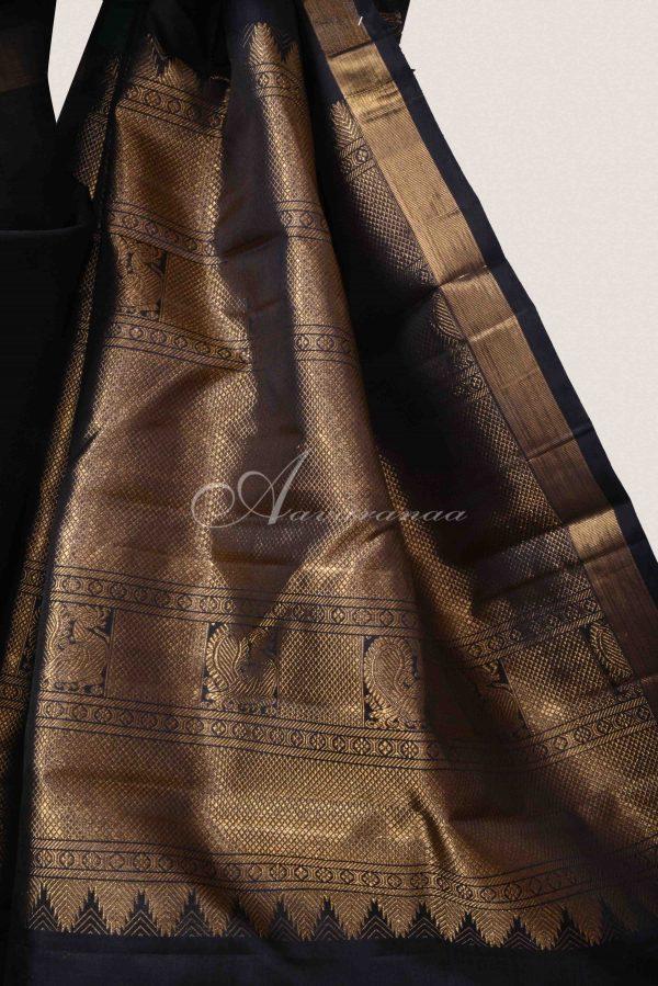 Black kanchi silk saree with green striped border-15540