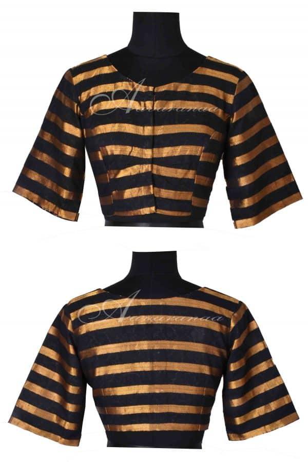 Black zari stripes cotton blouse-0