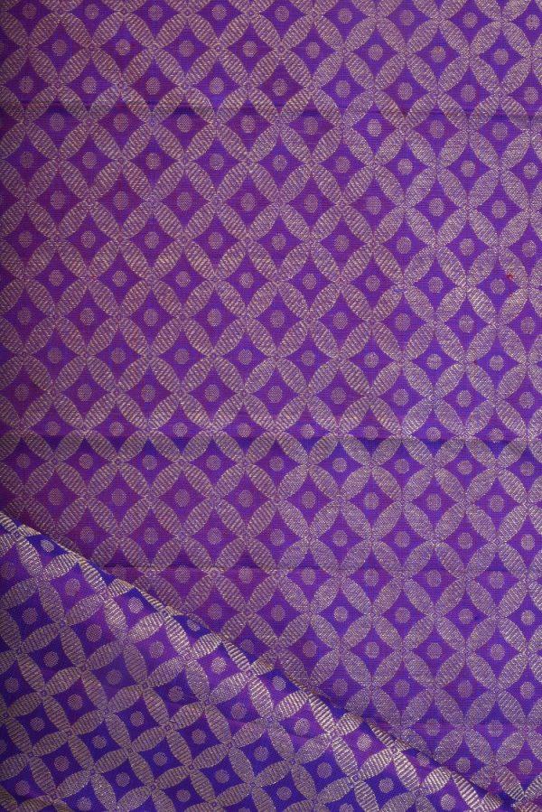 Purple geometric design kanchi silk blouse fabric-0