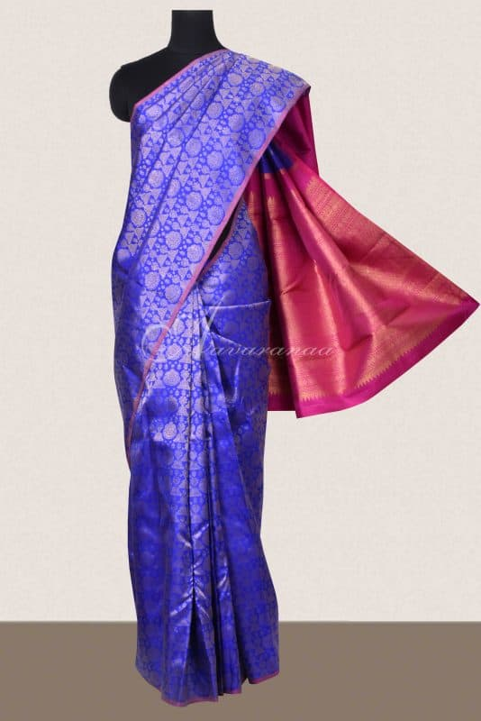 Royal blue jhumki design kanchi silk saree-0