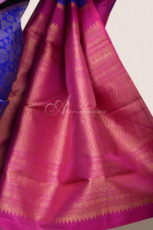 Royal blue jhumki design kanchi silk saree-16089
