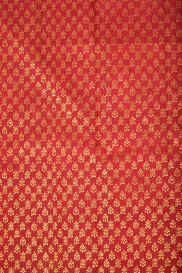 Rust zari butti kanchi silk fabric-0