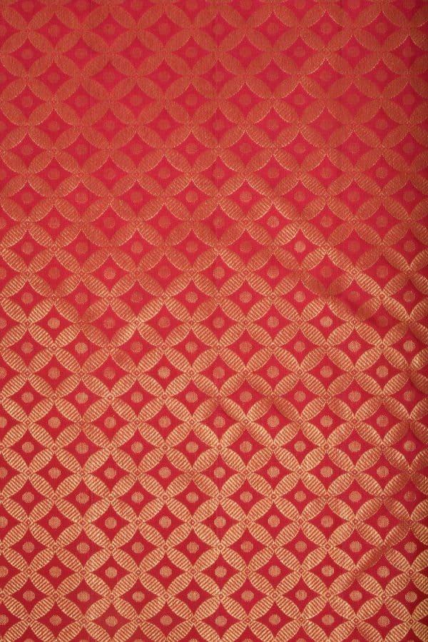 Red geometric design zari kanchi silk fabric-0