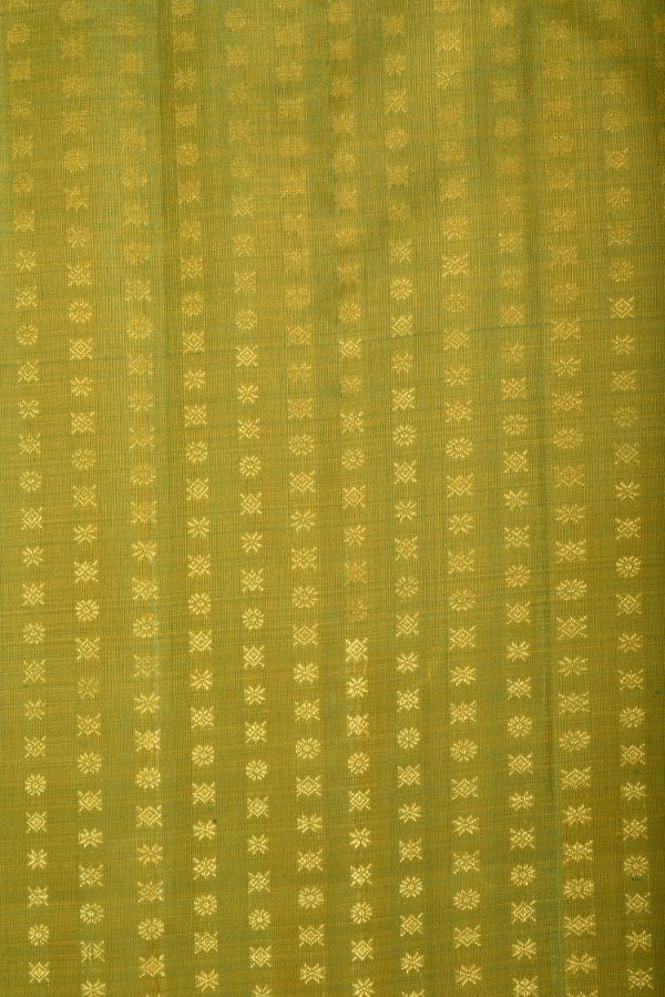 Lemon green kancheepuram zari silk fabric-0