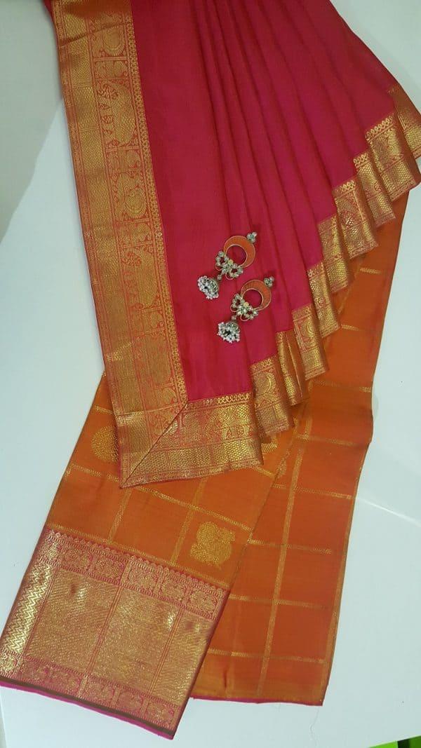 Orange checks kanchi skirt set-0