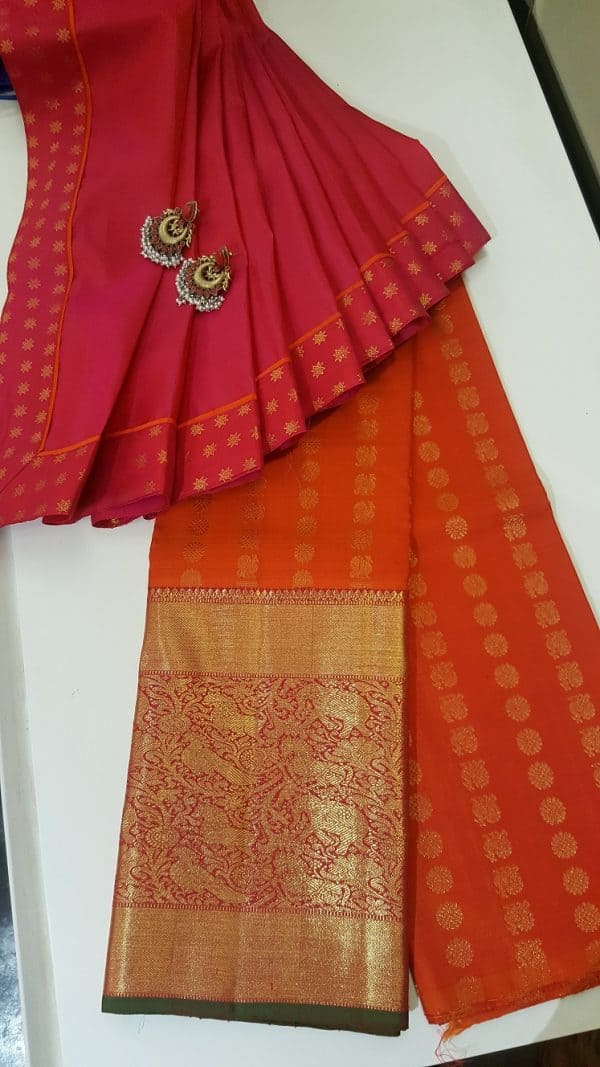 Orange long border kanchi skirt set-0