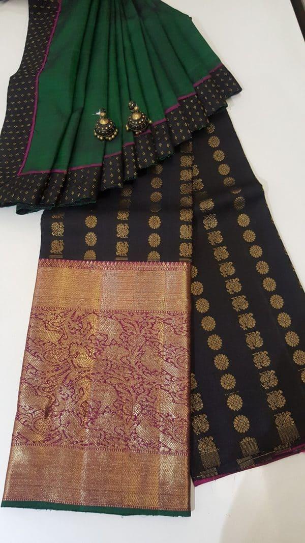 Black long border kanchi skirt set-0