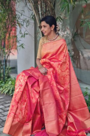 peach bridal saree