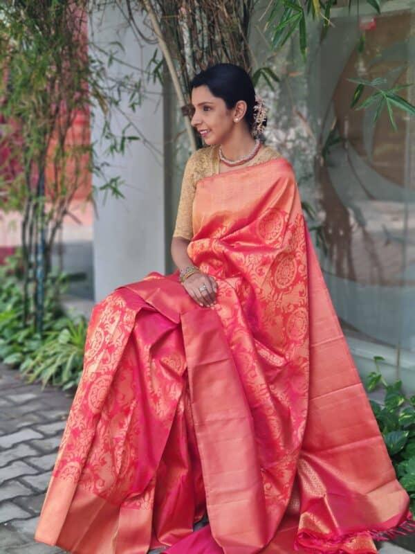 peach bridal saree