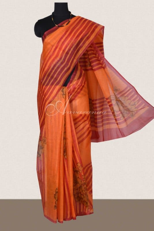 Rust orange floral printed supernet sarees -0
