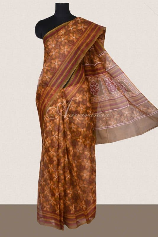 Brown floral printed supernet sarees -0