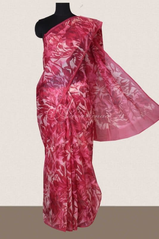 Reddish pink printed supernet saree -0