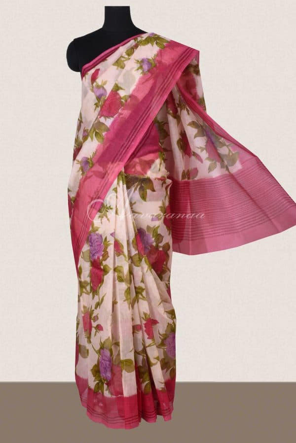 Beige and pink floral printed supernet saree -0