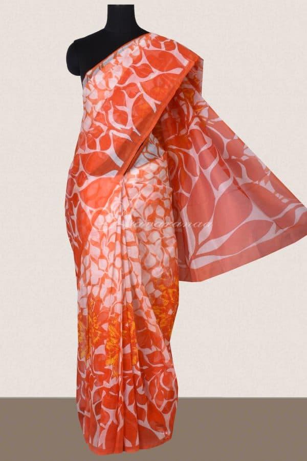 Orange and white printed supernet saree -0