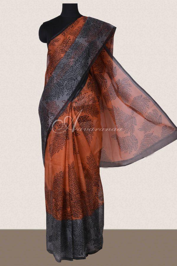 Rust and grey printed supernet saree -0