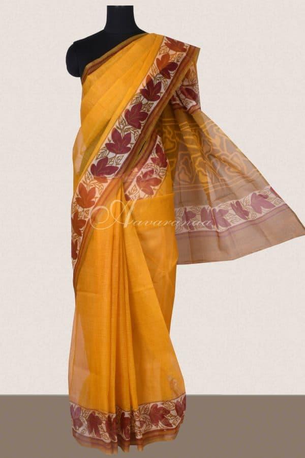 Yellow and maroon printed supernet saree-0