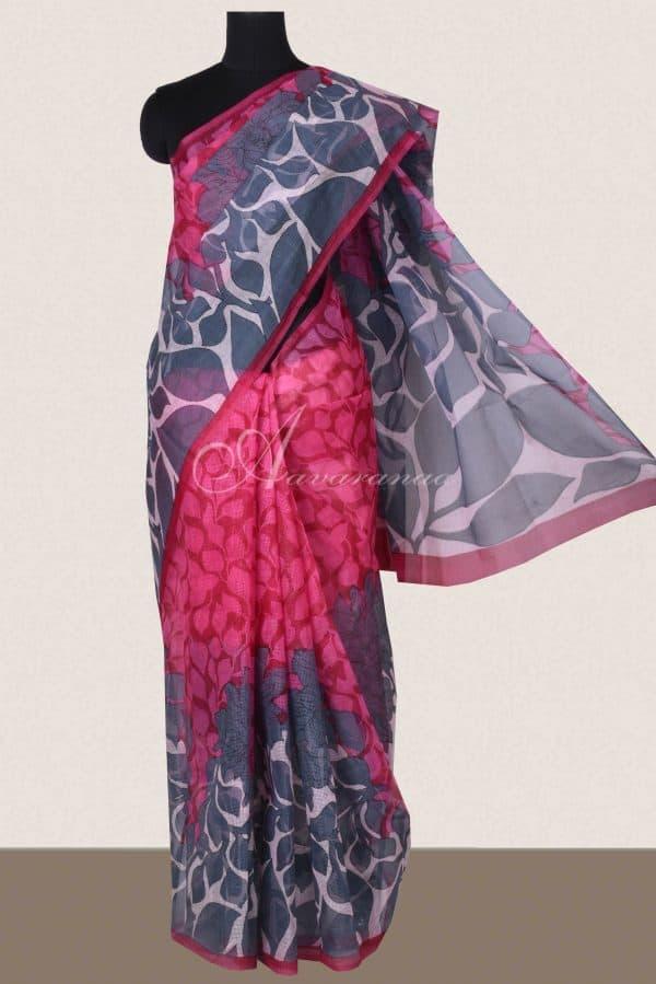 Pink and grey printed supernet saree -0