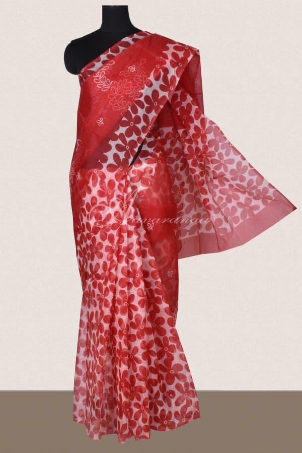 Red partly pallu printed supernet saree -0