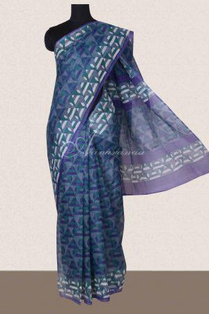 Grey geometrical printed supernet sarees -0