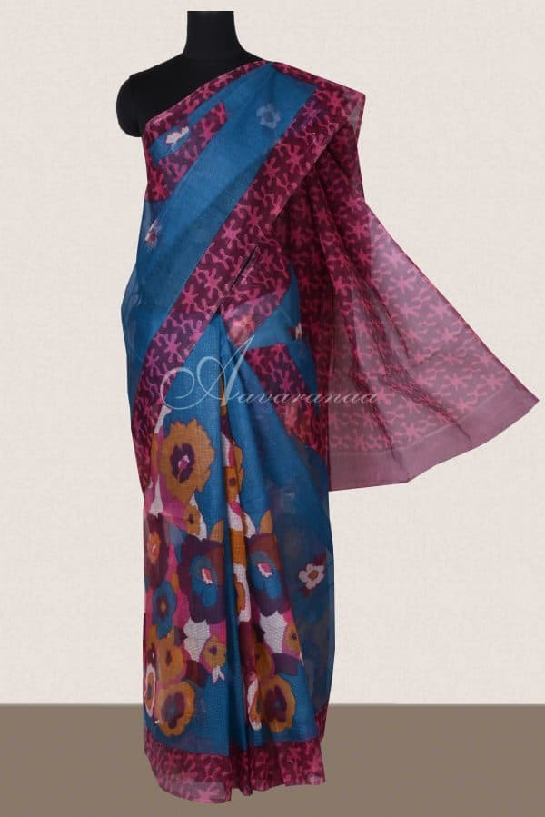 Blue and majenta floral printed supernet saree-0