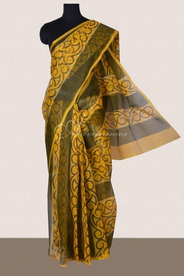 Yellow and green printed supernet saree-0