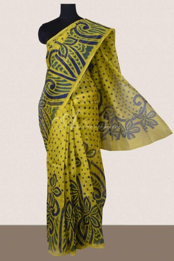 Lemon yellow printed supernet saree-0