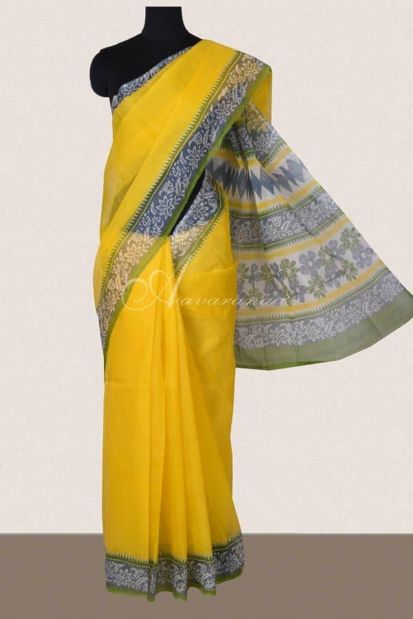 Lemon yellow and grey printed supernet saree-0