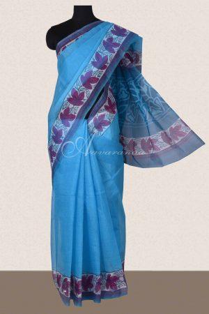 Blue and majenta printed supernet saree-0
