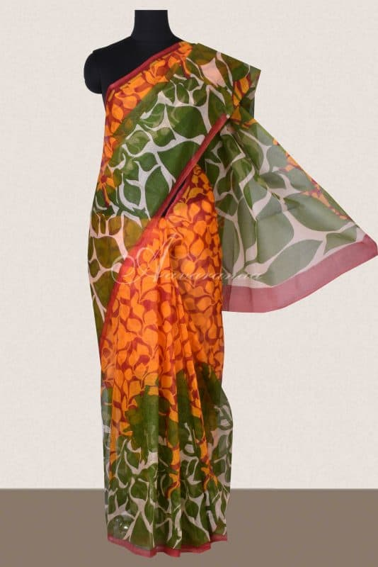 Orange and green printed supernet saree -0