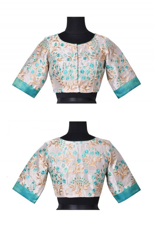 Beige and blue embroidered tussar silk blouse-0